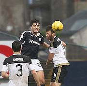 Dundee&rsquo;s Julen Etxabeguren beats Aberdeen&rsquo;s Andrew Considine in the air - Dundee v Aberdeen, Ladbrokes Scottish Premiership at Dens Park<br /> <br />  - &copy; David Young - www.davidyoungphoto.co.uk - email: davidyoungphoto@gmail.com