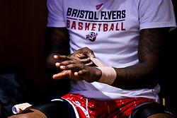 Fred Thomas of Bristol Flyers straps his wrists - Photo mandatory by-line: Robbie Stephenson/JMP - 29/03/2019 - BASKETBALL - English Institute of Sport - Sheffield, England - Sheffield Sharks v Bristol Flyers - British Basketball League Championship