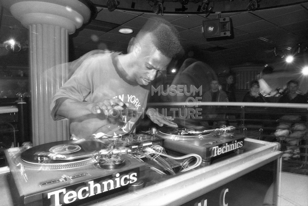 Young man competing in the Technics DJ Championship, UK, 1980s.