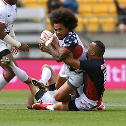 Action in the day two match, USA vs Japan at the 2017 HSBC World Sevens Series Wellington, Westpac Stadium in Wellington, New Zealand on Sunday, 29 January 2017. Photo: Kerry Marshall / lintottphoto.co.nz