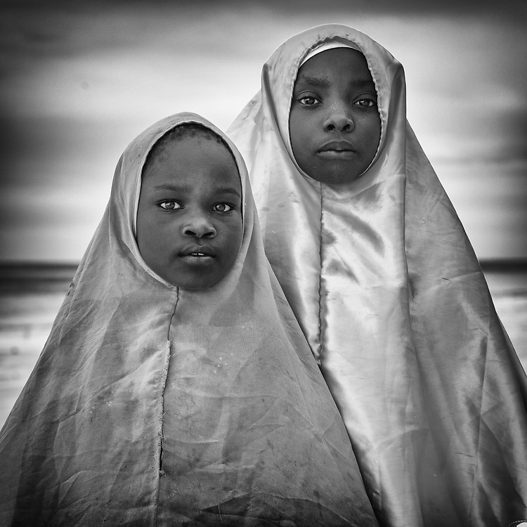 Modest girls wearing hijab in Zanzibar