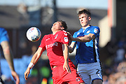Ryan Delaney gives a Charlton player a shove during the EFL Sky Bet League 1 match between Rochdale and Charlton Athletic at Spotland, Rochdale, England on 5 May 2018. Picture by Daniel Youngs.
