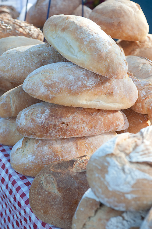 Fresh baked breads on a table