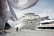 BALI, INDONESIA JAN 2015;<br />Chrystal Symphony Cruise is docked in the Harbour in Bali, Indonesia, Jan 2015<br />@Giulio Di Sturco
