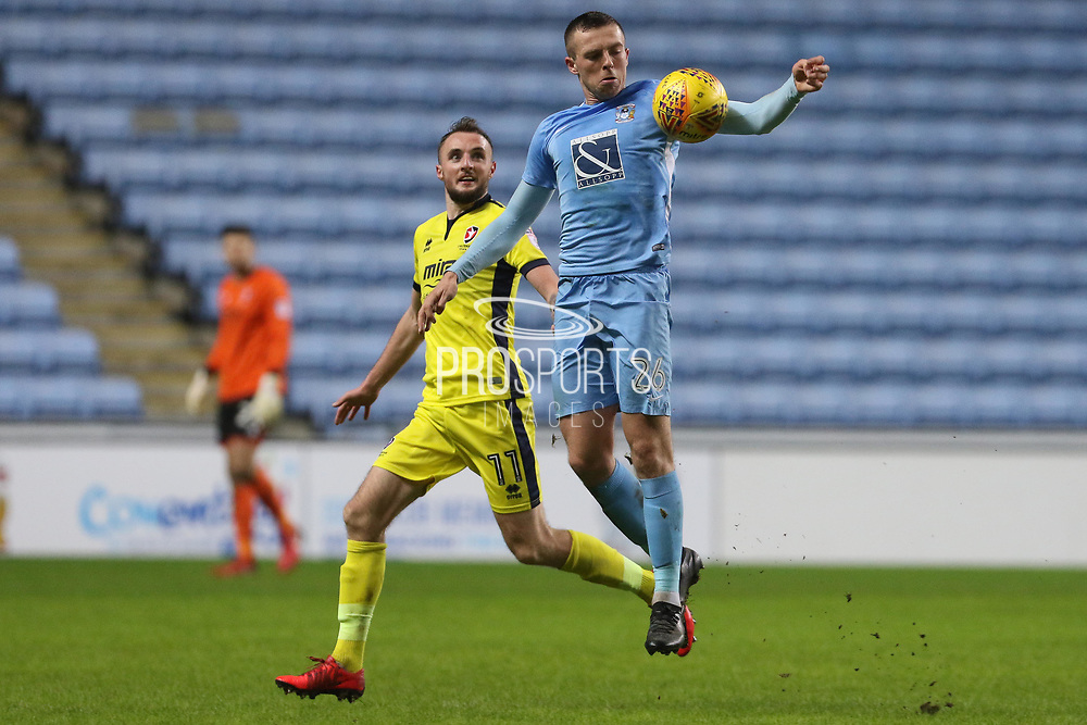 Carl Winchester and Jordan Shipley during the EFL Sky Bet League 2 match between Coventry City and Cheltenham Town at the Ricoh Arena, Coventry, England on 16 December 2017. Photo by Antony Thompson.