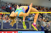 Yuliya Levchenko (UKR) ties for second in the women's high jump at 6-3½ (1.92m) in the 34th Indoor Meeting Karlsruhen in an IAAF World Tour competition at the Messe Karlsruhe on Saturday, Feb. 3, 2018 in Karlsruhe, Germany. (Jiro Mochizuki/Image of Sport)