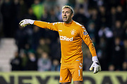 Allan McGregor (#1) of Rangers issues instructions at a corner during the Ladbrokes Scottish Premiership match between Hibernian and Rangers at Easter Road, Edinburgh, Scotland on 19 December 2018.