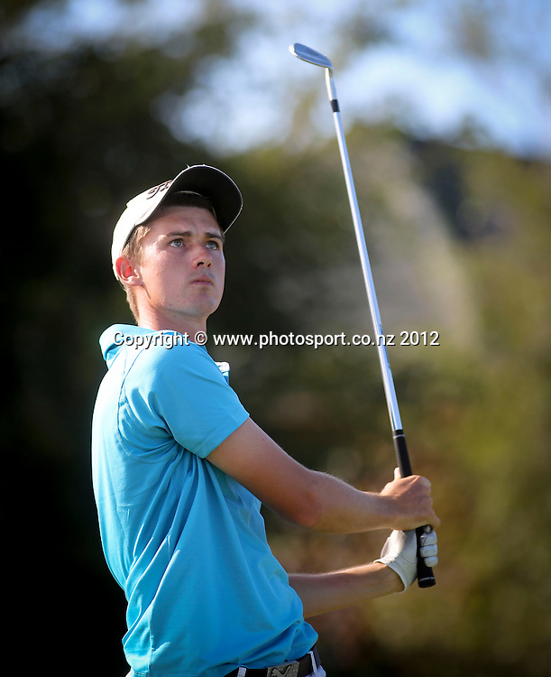 Hayden Beard on the final day of the New Zealand stroke play championship, Paraparaumu Beach Golf Club, New Zealand. Sunday, 24 March, 2013. Photo: John Cowpland / photosport.co.nz