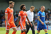 AFC Wimbledon manager Neal Ardley with AFC Wimbledon defender Barry Fuller (2) walking off pitch during the EFL Sky Bet League 1 match between AFC Wimbledon and Shrewsbury Town at the Cherry Red Records Stadium, Kingston, England on 12 August 2017. Photo by Matthew Redman.