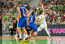 Alen Omic of Slovenia and Alben Veseli of Kosovo during qualifying match between Slovenia and Kosovo for European basketball championship 2017,  Arena Stozice, Ljubljana on 31th August, Slovenia. Photo by Grega Valancic / Sportida