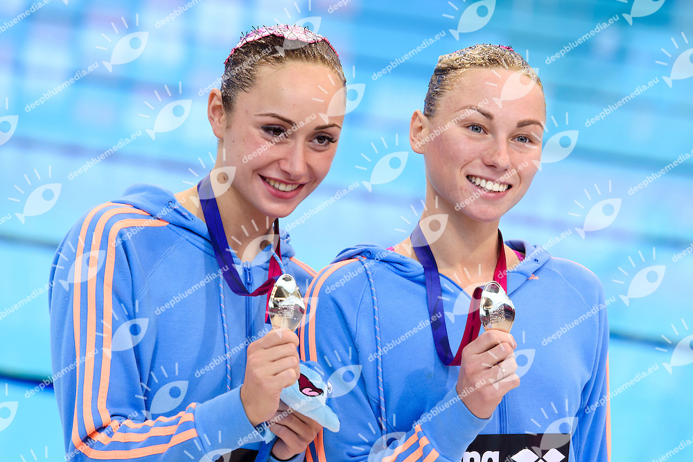 ANANASOVA Lolita / VOLOSHYNA Anna UKR Ukraine Silver Medal <br /> Duet Technical Final <br /> London, Queen Elizabeth II Olympic Park Pool <br /> LEN 2016 European Aquatics Elite Championships <br /> Synchronized Swimming <br /> Day 05 13-05-2016<br /> Photo Andrea Staccioli/Deepbluemedia/Insidefoto