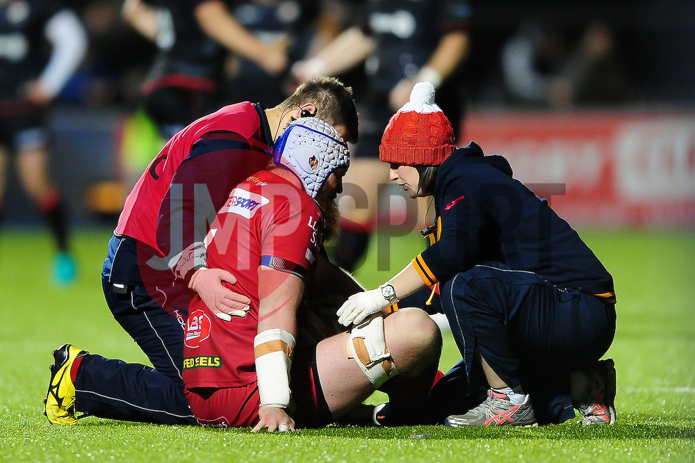 Jake Ball of the Scarlets is treated for an injury - Mandatory byline: Patrick Khachfe/JMP - 07966 386802 - 22/10/2016 - RUGBY UNION - Allianz Park - London, England - Saracens v Scarlets - European Rugby Champions Cup.