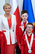 Warsaw, Poland - 2017 March 31: (L) First Lady Agata Kornhauser-Duda poses with (R) Antoni Wiercioch and Special Olympics Athlete while meeting at Polish President's Palace on March 31, 2017 in Warsaw, Poland.<br /> <br /> Mandatory credit:<br /> Photo by © Adam Nurkiewicz / Mediasport<br /> <br /> Adam Nurkiewicz declares that he has no rights to the image of people at the photographs of his authorship.<br /> <br /> Picture also available in RAW (NEF) or TIFF format on special request.<br /> <br /> Any editorial, commercial or promotional use requires written permission from the author of image.<br /> <br /> Image can be used in the press when the method of use and the signature does not hurt people on the picture.