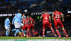 John Stones of Manchester City fires a header at goal - Mandatory by-line: Matt McNulty/JMP - 09/01/2018 - FOOTBALL - Etihad Stadium - Manchester, England - Manchester City v Bristol City - Carabao Cup Semi-Final First Leg