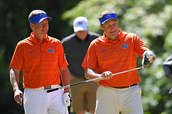 Dan Mullen and Judd Davis during the Chick-fil-A Peach Bowl Challenge at the Oconee Golf Course at Reynolds Plantation, Sunday, May 1, 2018, in Greensboro, Georgia. (Dale Zanine via Abell Images for Chick-fil-A Peach Bowl Challenge)