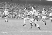 Dublin runs for the goal as Kerry approaches from the side during the All Ireland Senior Gaelic Football Final Dublin v Kerry in Croke Park on the 26th September 1976. Dublin 3-08 Kerry 0-10.