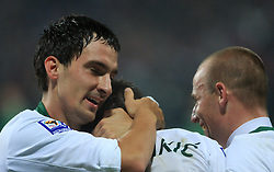 Branko Ilic (18), Zlatan Ljubijankic (9) and Miso Brecko (2) at the fourth round qualification game of 2010 FIFA WORLD CUP SOUTH AFRICA in Group 3 between Slovenia and Northern Ireland at Stadion Ljudski vrt, on October 11, 2008, in Maribor, Slovenia.  (Photo by Vid Ponikvar / Sportal Images)