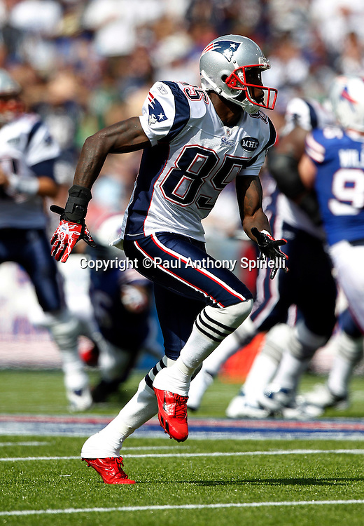 New England Patriots wide receiver Chad Ochocinco (85) goes out for a pass during the NFL week 3 football game against the Buffalo Bills on Sunday, September 25, 2011 in Orchard Park, New York. The Bills won the game 34-31. ©Paul Anthony Spinelli