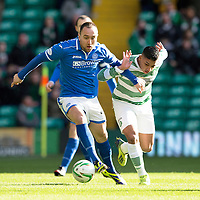 Celtic v St Johnstone....16.02.14   SPFL<br /> Lee Croft and Imilio Izaguirre<br /> Picture by Graeme Hart.<br /> Copyright Perthshire Picture Agency<br /> Tel: 01738 623350  Mobile: 07990 594431