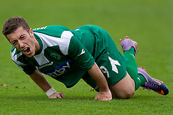 Agim Ibraimi of Olimpija injured  at football match of 31st Round of 1st Slovenian League  between NK Olimpija and NK Maribor, on April 16, 2010, in ZAK Stadium, Ljubljana, Slovenia. (Photo by Vid Ponikvar / Sportida)