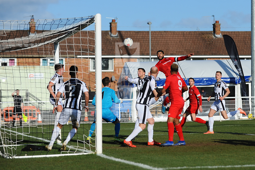 TELFORD COPYRIGHT MIKE SHERIDAN Ellis Deeney of Telford heads for goal  during the Vanarama Conference North fixture between Spennymoor Town and AFC Telford United at Brewery Field, Spennymoor on Saturday, February 29, 2020.<br /> <br /> Picture credit: Mike Sheridan/Ultrapress<br /> <br /> MS201920-048