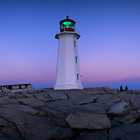 Canada, Nova Scotia, Peggy's Cove, Peggy's Cove Lighthouse at twilight on autumn evening