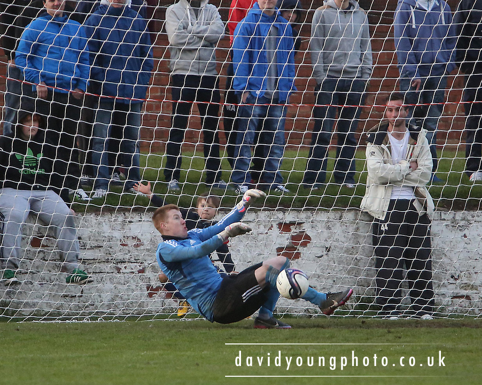 Monifieth keeper Craig Cosgrove saves in the penalty shoot out - Monifieth Tayside v Harris in the Carne Trophy final at Glenesk. .© David Young - www.davidyoungphoto.co.uk - email: davidyoungphoto@gmail.com