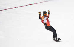 PYEONGCHANG, March 12, 2018  Bibian Mentel-Spee from the Netherlands celebrates after winning the Women's Snowboard Cross Big Final SB-LL2 at the 2018 PyeongChang Winter Paralympic Games at Jeongseon Alpine Centre, South Korea, March 12, 2018. Bibian Mentel-Spee claimed the title of the event. (Credit Image: © Xia Yifang/Xinhua via ZUMA Wire)