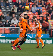 14th April 2018, Tannadice Park, Dundee, Scotland; Scottish Championship football, Dundee United versus Falkirk; Anthony Ralston of Dundee United battles for the ball with Alex Jakubiak of Falkirk