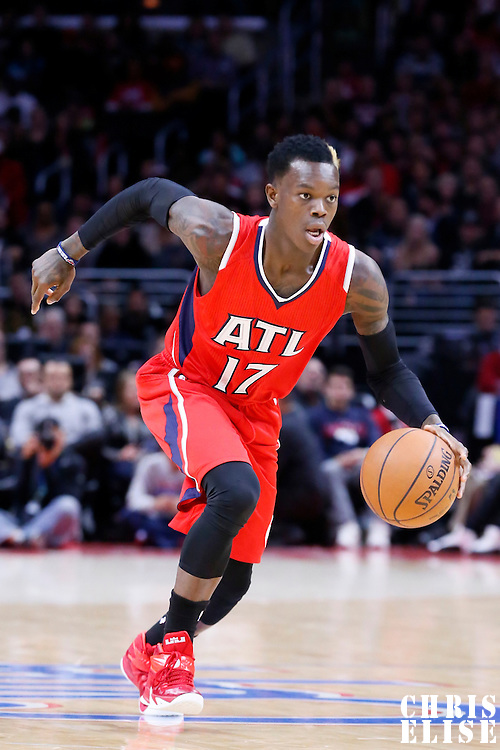 05 January 2014: Atlanta Hawks guard Dennis Schroder (17) dribbles during the Atlanta Hawks 107-98 victory over the Los Angeles Clippers, at the Staples Center, Los Angeles, California, USA.