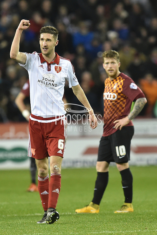 Sheffield United midfielder Chris Basham celebrates going 3-0 up from Sheffield United defender, on loan from Birmingham City, David Edgar scoring  during the Sky Bet League 1 match between Sheffield Utd and Bradford City at Bramall Lane, Sheffield, England on 28 December 2015. Photo by Ian Lyall.