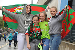 From Belmullet Rachel, Emer and Niamh Flynn with Rachel McCormack at the All Ireland Semi Final against Kerry at Croke Park.<br /> Pic Conor McKeown