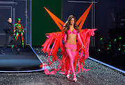 Alessandra Ambrosio displays a creation during the 2009 Victoria's Secret Fashion show at the 26th St Armory in New York City on November 19, 2009.