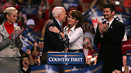 Senator John McCain and Governor Sarah Palin at a campaign rally in Virginia Beach, VA on October 13, 2008. left to right: Cindy McCain Senator McCain,Gov Palin, Todd Palin Photograph by Dennis Brack