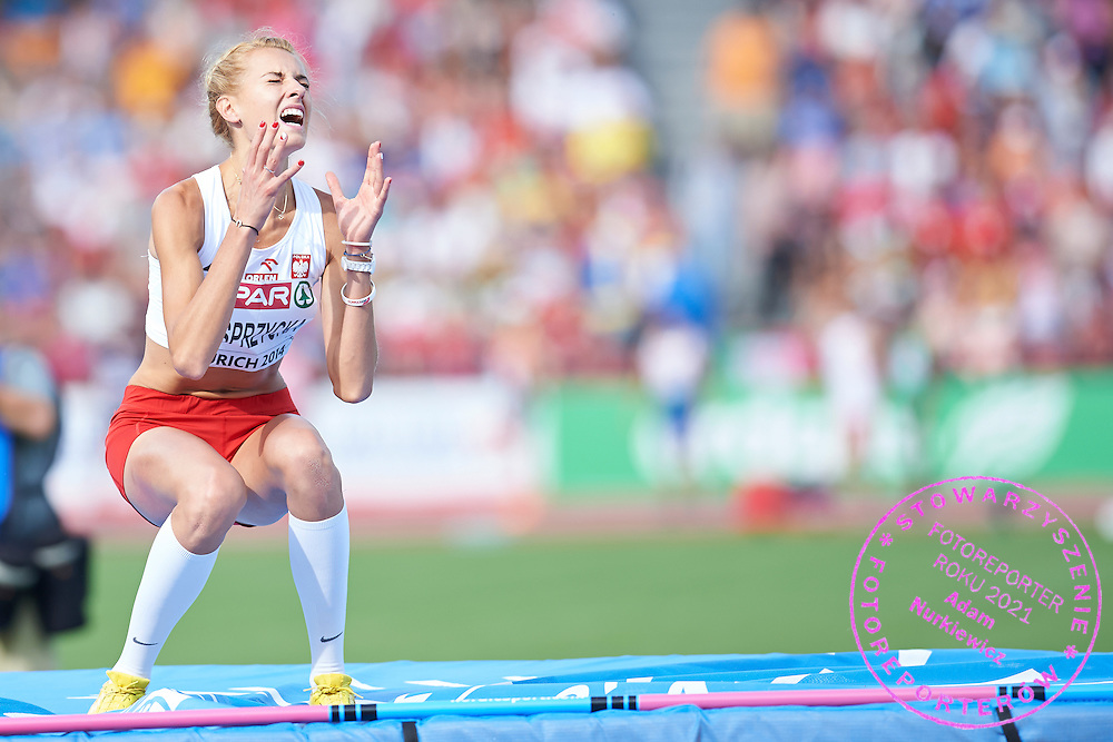 Justyna Kasprzycka from Poland competes in women's high jump final during the Sixth Day of the European Athletics Championships Zurich 2014 at Letzigrund Stadium in Zurich, Switzerland.<br /> <br /> Switzerland, Zurich, August 17, 2014<br /> <br /> Picture also available in RAW (NEF) or TIFF format on special request.<br /> <br /> For editorial use only. Any commercial or promotional use requires permission.<br /> <br /> Photo by &copy; Adam Nurkiewicz / Mediasport