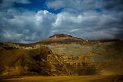 A pyramid shaped lixiviation pad sits behind other pits at Yanacocha gold mine in Peru, Thursday, October 15, 2015. (Hilaea Media/ Dado Galdieri)