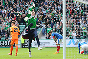 A young Hibs fan takes to the pitch to celebrate Hibs' injury time 5-5 equaliser during the Ladbrokes Scottish Premiership match between Hibernian and Rangers at Easter Road, Edinburgh, Scotland on 13 May 2018. Picture by Kevin Murray.