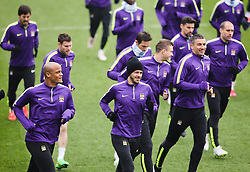 Manchester City's Martin Demichelis and his team mates are pictured during the training session at the Etihad Campus ahead of the UEFA Champions League second leg match against FC Barcelona - Photo mandatory by-line: Matt McNulty/JMP - Mobile: 07966 386802 - 17/03/2015 - SPORT - Football - Manchester - Etihad Campus - Barcelona v Manchester City - UEFA Champions League
