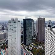 Tokyo Metropolitan Government Building, architecture cityscape in the skyscraper financial Nishi-Shinjuku  district, Japan.