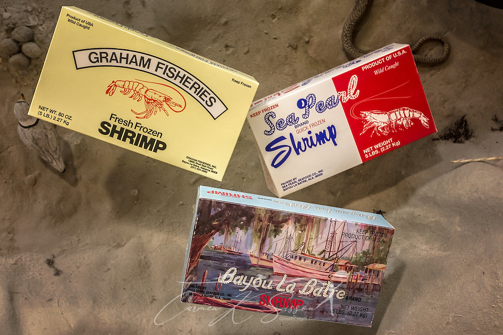 Vintage seafood packaging from local, Bayou La Batre seafood processors, is displayed at GulfQuest National Maritime Museum of the Gulf of Mexico,  November 27, 2015, in Mobile, Alabama. The museum opened in September 2015 and features more than 90 interactive exhibits celebrating the  Gulf Coast's rich maritime heritiage. (Photo by Carmen K. Sisson/Cloudybright)