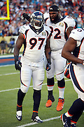 Denver Broncos defensive end Malik Jackson (97) celebrates with Denver Broncos nose tackle Sylvester Williams (92) after Jackson recovers a fumble by Carolina Panthers quarterback Cam Newton (1) on a strip sack by Denver Broncos outside linebacker Von Miller (58) that gives the Broncos a 10-0 lead during the NFL Super Bowl 50 football game against the Carolina Panthers on Sunday, Feb. 7, 2016 in Santa Clara, Calif. The Broncos won the game 24-10. (©Paul Anthony Spinelli)