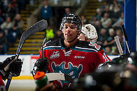 KELOWNA, CANADA - DECEMBER 3: Devante Stephens #21 of the Kelowna Rockets stands at the bench during a time out against the Brandon Wheat Kings on December 3, 2016 at Prospera Place in Kelowna, British Columbia, Canada.  (Photo by Marissa Baecker/Shoot the Breeze)  *** Local Caption ***