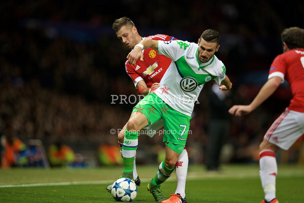 MANCHESTER, ENGLAND - Wednesday, September 30, 2015: VfL Wolfsburg's Daniel Caligiuri in action against Manchester United during the UEFA Champions League Group B match at Old Trafford. (Pic by David Rawcliffe/Propaganda)