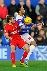 QPR Midfielder Matt Phillips (SCO) is challenged by Charlton Defender Dorian Dervite (FRA) during the first half of the match - Photo mandatory by-line: Rogan Thomson/JMP - Tel: 07966 386802 - 23/11/2013 - SPORT - Football - London - Loftus Road - QPR v Charlton Athletic - Sky Bet Championship