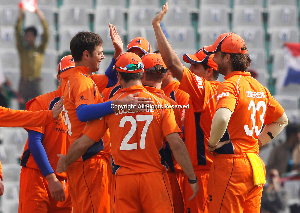 03.03.2011 Cricket World Cup from the Punjab Cricket Association Stadium, Mohali in Chandigarh. South Africa v Netherlands. Bernard Loots of Netherlands celebrates the wicket of Graeme Smith during the match of the ICC Cricket World Cup between Netherlands and South Africa