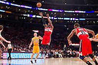 22 March 2013: Guard (2) John Wall of the Washington Wizards shoots the ball against the Los Angeles Lakers during the second half of the Wizards 103-100 victory over the Lakers at the STAPLES Center in Los Angeles, CA.