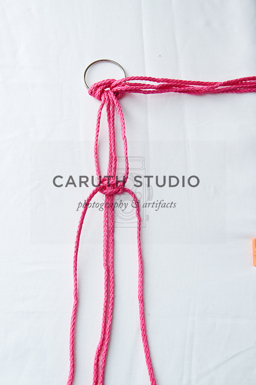 Step five to make a square knot with macrame cord