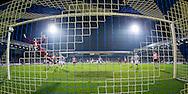 DOETINCHEM, de Graafschap - PSV, voetbal, Eredivisie seizoen 2015-2016, 31-10-2015, Stadion De Vijverberg, De Graafschap keeper Hidde Jurjus (L) is kansloos bij een vrije trap van PSV speler Andres Guardado (L achter), 0-2 voor PSV.
