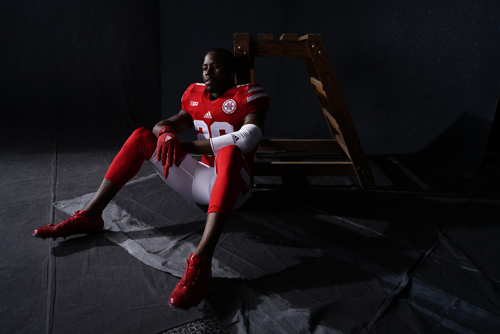 KIERON WILLIAMS #26 during a portrait session at Memorial Stadium in Lincoln, Neb. on June 7, 2017. Photo by Paul Bellinger, Hail Varsity
