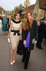Left to right, SHEHERAZADE GOLDSMITH and KATE GOLDSMITH at the wedding of Laura Parker Bowles to Harry Lopes held at Lacock, Wiltshire on 6th May 2006.<br />